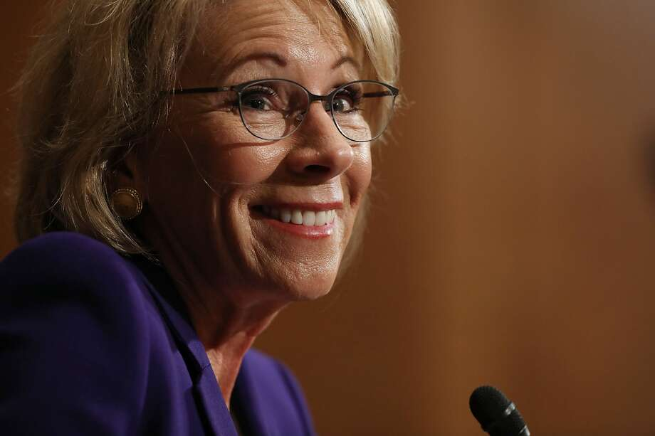 Who is Betsy DeVos?Betsy DeVos is Trump's Secretary of Education, and arguably the most controversial member of the president's cabinet. Her nomination was met with staunch resistance from Democrats and drawn more ire than anyone else Trump sent before the Senate.Keep going to learn more about DeVos. Photo: Chip Somodevilla/Getty Images