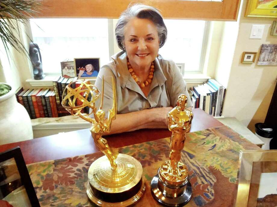 "Elaine Palance — with her late husband's Emmy Award (1956, for best single performance by an actor in the ""Playhouse 90"" production of ""Requiem for a Heavyweight"") and Academy Award (1992, for best supporting actor for ""City Slickers"") — lives in Boerne and sits on the boards of area civic and medical organizations. Photo: Steve Bennett / San Antonio Express-News"