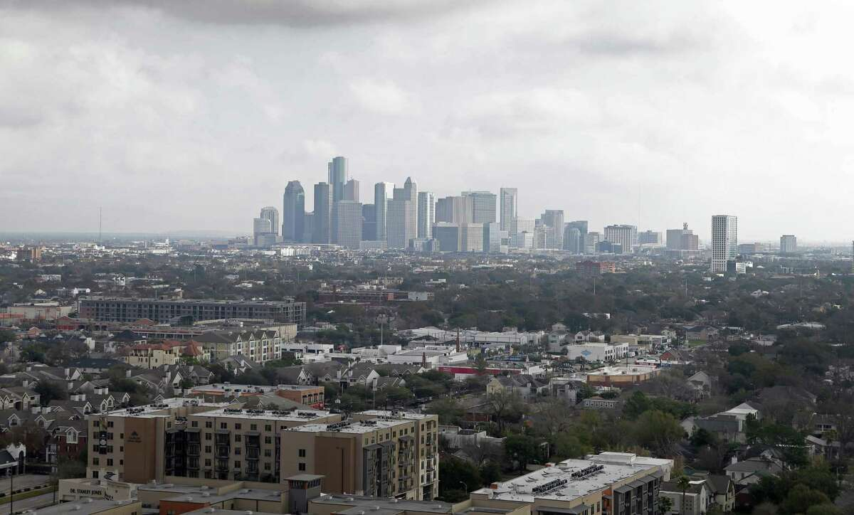 A view of downtown is shown from the Kirby Collection, 3200 Kirby Drive, is shown Thursday, Feb. 2, 2017, in Houston. The project includes a 25-story luxury residential tower and 13-story Class-A office building. ( Melissa Phillip / Houston Chronicle )