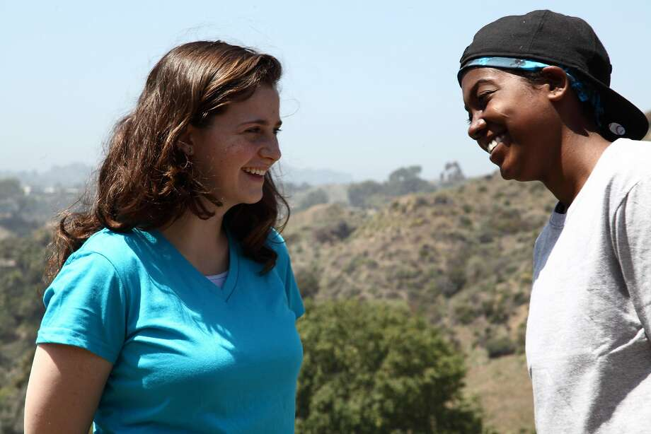 """Halle Charleton as Rachel and Lauryn Whitney as Sammy in Frameline Voices title """"Genderfreak,"""" directed by Rebecca Louisell, filmed in Los Angeles in 2012. Photo: Mel Blanchard."""