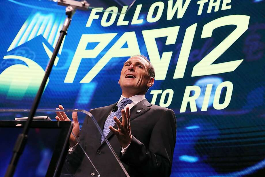 In this July 14, 2016, file photo, Pac-12 commissioner Larry Scott speaks at the Pac-12 NCAA college football media day in Los Angeles.  Photo: Reed Saxon, Associated Press