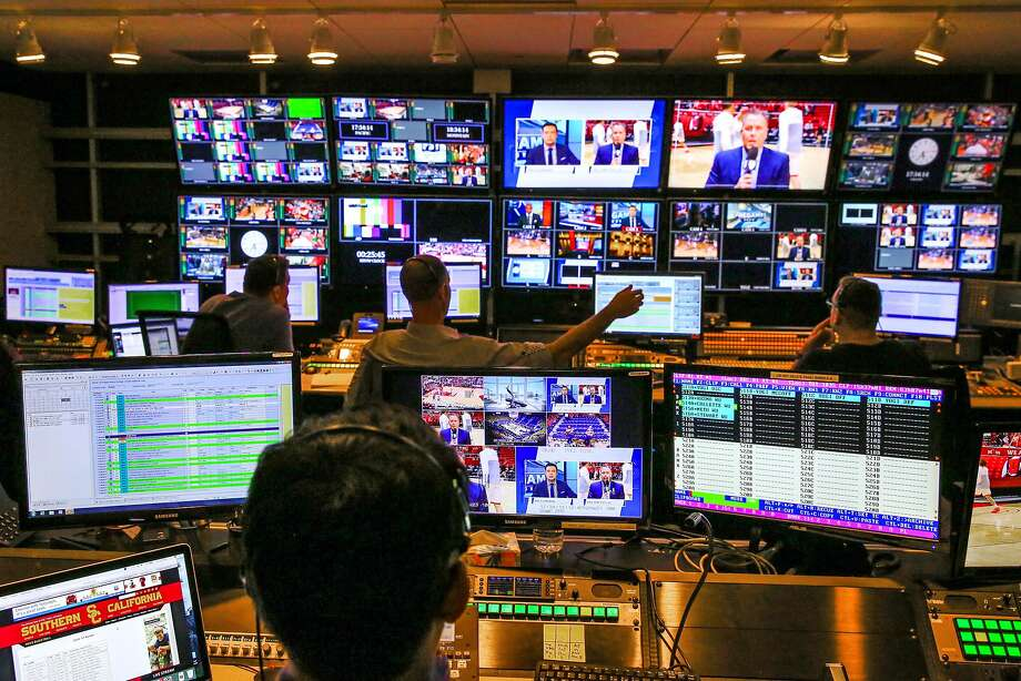 The Pac-12 Networks control room in San Francisco. The networks show 850 games a year involving conference teams. Photo: Gabrielle Lurie, The Chronicle