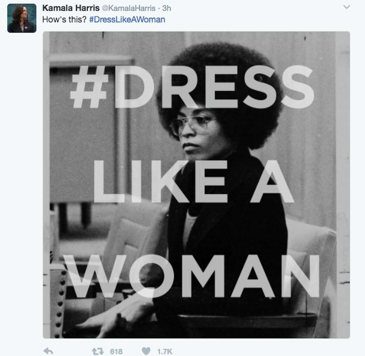 After news broke out that President Trump wanted his female staffers to 'dress like women,' many woman responded by tweeting photos of what real women dress like at work. The photos included women in hijabs, scrubs, hockey uniforms, spacesuits, and judge robes. Senator Kamala Harris got in on the action and tweeted several photos under the hashtag #dresslikeawoman. Here she tweeted an image of political activist Angela Davis.
