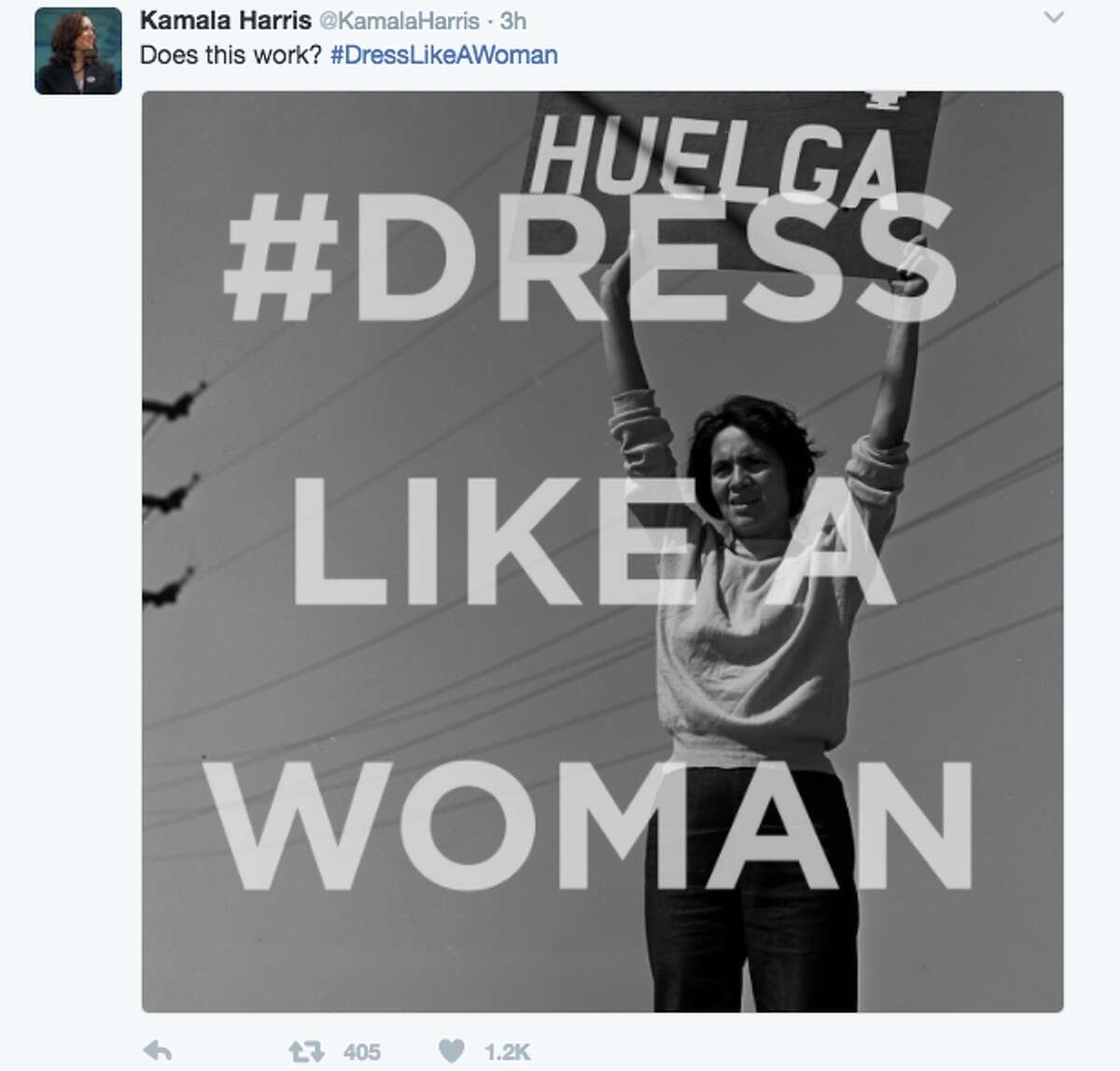 After news broke out that President Trump wanted his female staffers to 'dress like women,' many woman responded by tweeting photos of what real women dress like at work. The photos included women in hijabs, scrubs, hockey uniforms, spacesuits, and judge robes. Senator Kamala Harris got in on the action and tweeted several photos under the hashtag #dresslikeawoman. Here she tweeted an image of Dolores Huerta, co-founder and first vice president of the United Farm Workers.