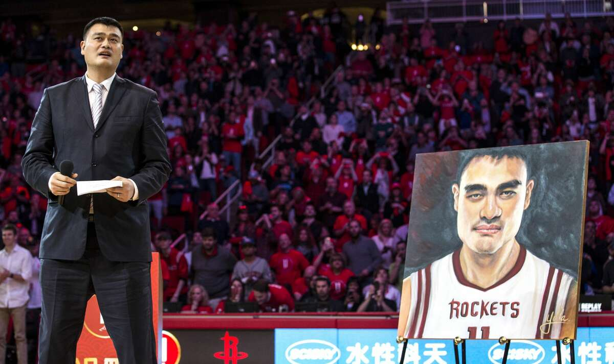 Former Houston Rockets and Hall of Fame center Yao Ming speaks during a halftime ceremony where his number 11 jersey was retired at Toyota Center on Friday, Feb. 3, 2017, in Houston. ( Brett Coomer / Houston Chronicle )