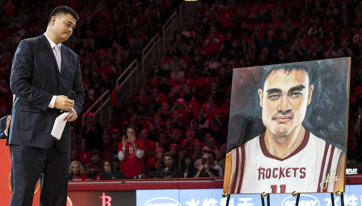 Former Houston Rockets and Hall of Fame center Yao Ming pauses as he speaks during a halftime ceremony where his number 11 jersey was retired at Toyota Center on Friday, Feb. 3, 2017, in Houston. ( Brett Coomer / Houston Chronicle )
