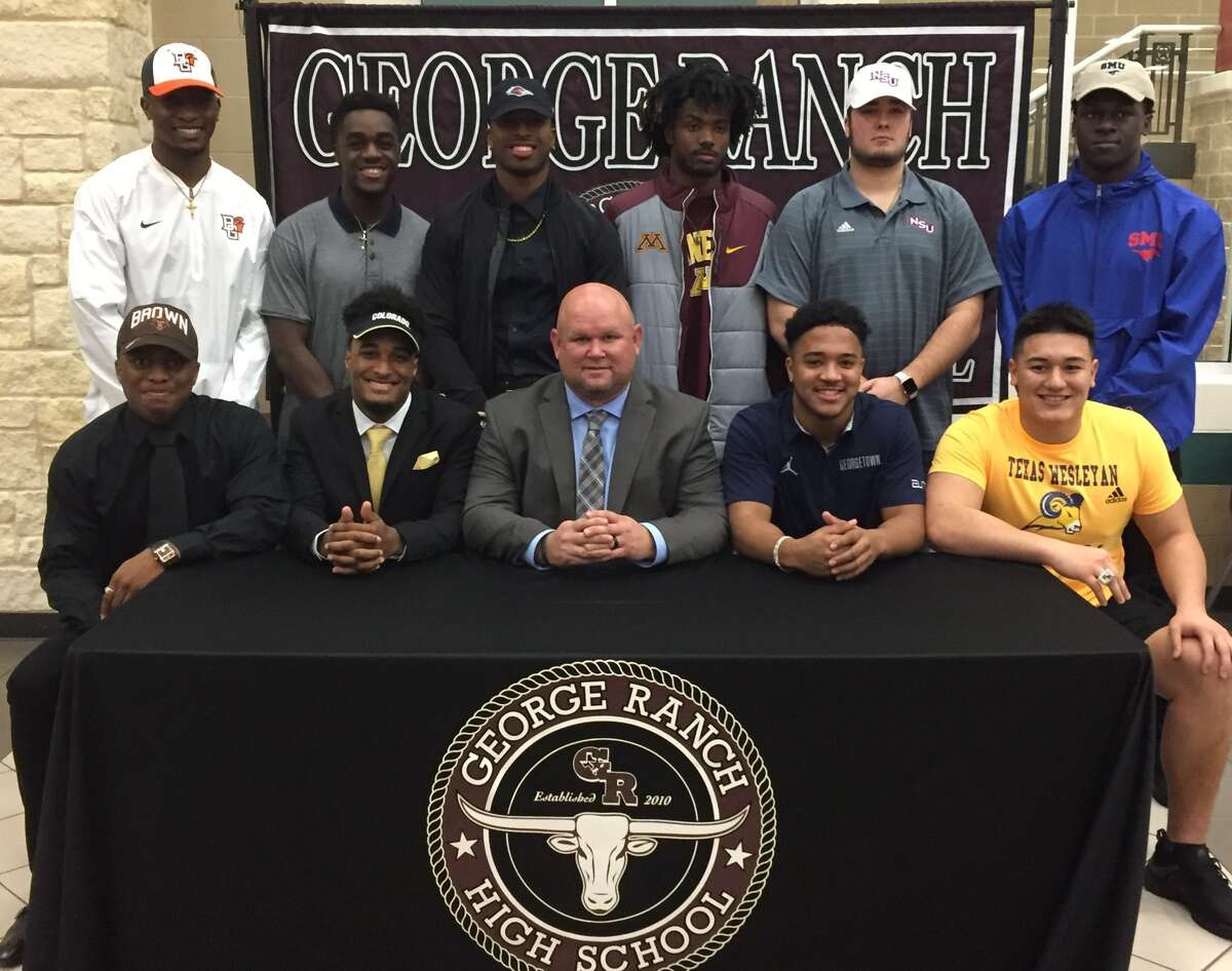 George Ranch student-athletes celebrate National Signing Day, Feb. 1 at GRHS. The Longhorns had a signing class of 13, including 10 in football.