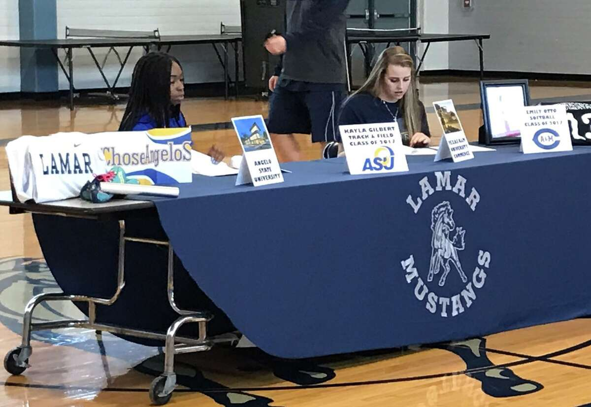 Lamar Consolidated student-athletes Kayla Gilbert and Emily Otto celebrated National Signing Day, Feb. 1 at LCHS. Gilbert signed a softball scholarship with Angelo State University, while Otto will compete in track and field for Texas A&-Commerce.