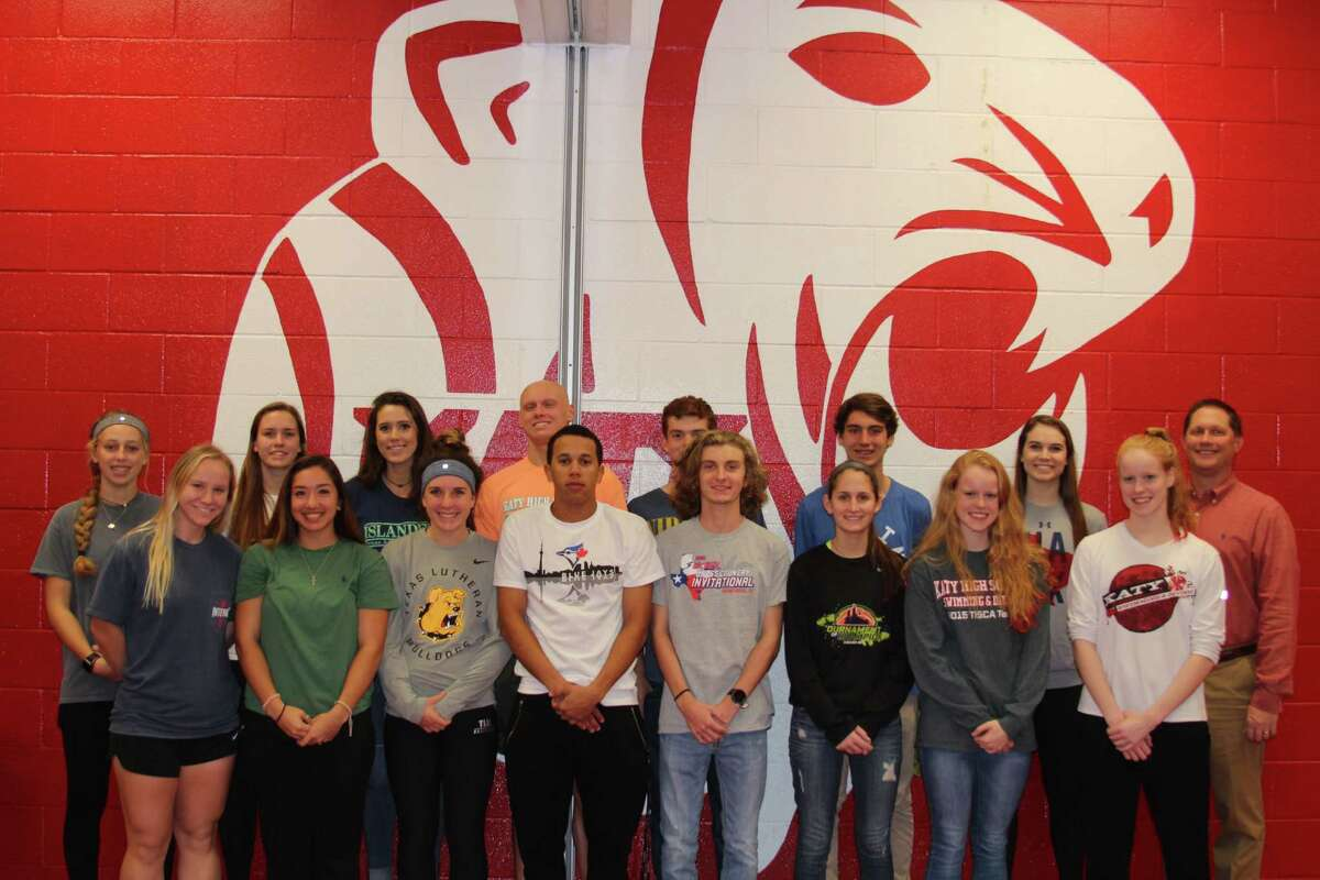 Katy High School student-athletes celebrate National Signing Day, Feb. 1 at KHS. Katy had one of the Houston area's largest signing classes, with 27 athletes in eight sports.
