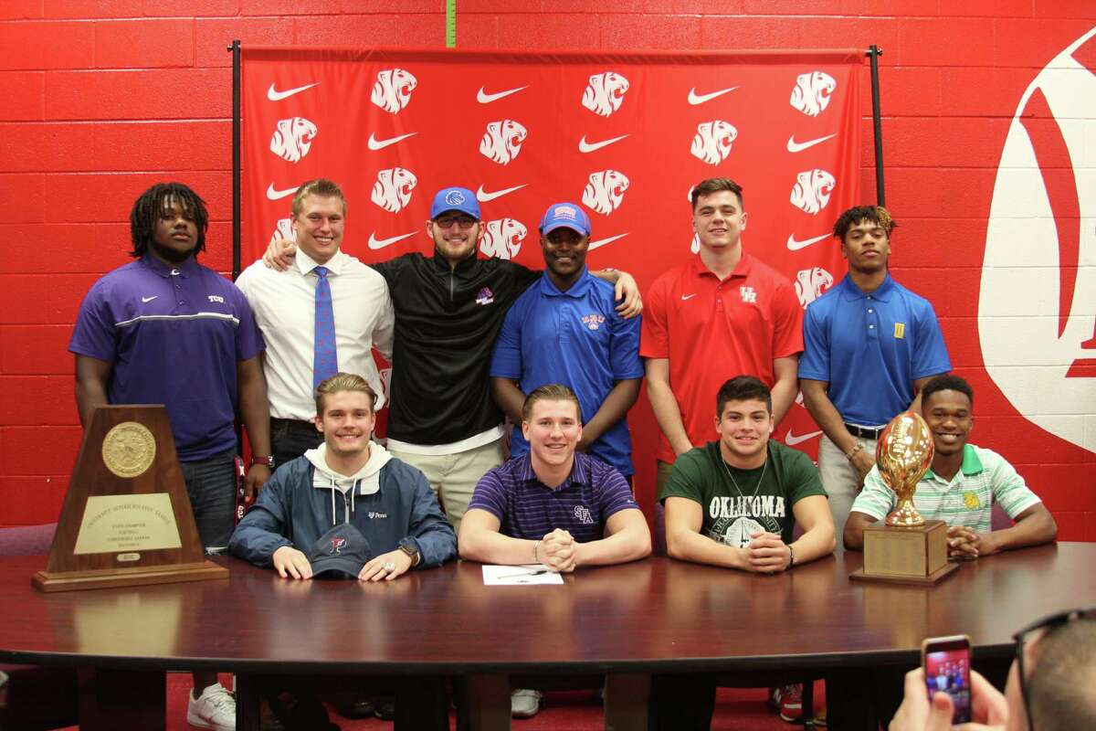 Katy High School football student-athletes celebrate National Signing Day, Feb. 1 at Katy High School. The Tigers will send 11 to college football.
