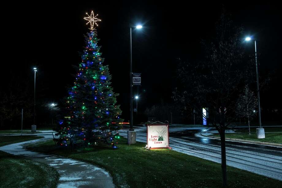 Photo provided One of the numerous Love Light Trees that illuminated the grounds of MidMichigan Medical Center - Midland to signify support raised for the campaign. More than $57,000 was donated to purchase equipment to benefit newborns.