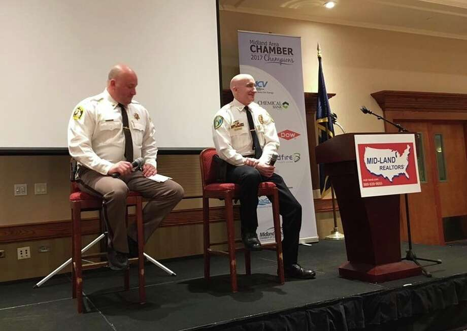 Photo provided By the Midland Area Chamber of Commerce Midland County Sheriff Scott Stephenson and Midland Police Chief Cliff Block speak at WakeUp! Midland on Friday.