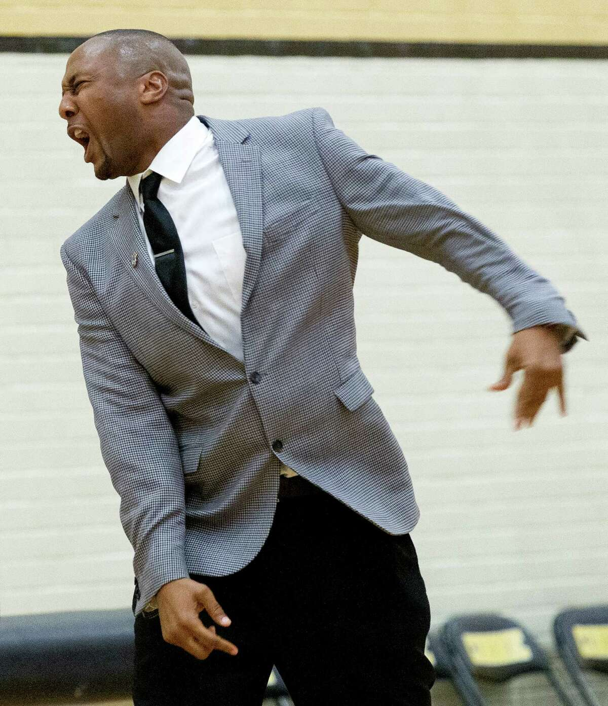 Conroe head coach Daryl Mason reacts to a call during the fourth quarter of a District 12-6A high school boys basketball game at Conroe High School Friday, Feb. 3, 2017, in Conroe. Conroe defeated Lufkin 68-62 in overtime.
