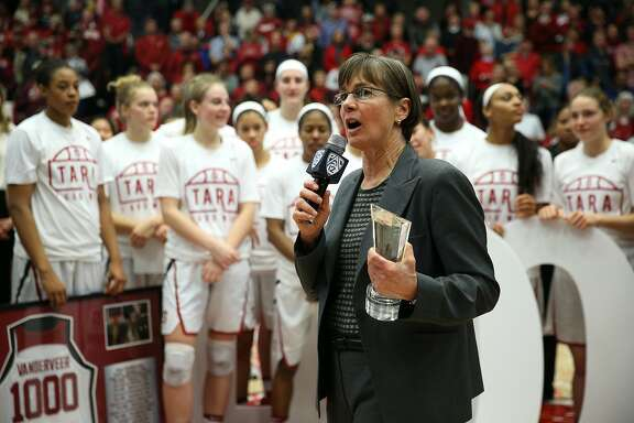 Stanford Cardinal head coach Tara VanDerveer after winning her 1,000th win following an NCAA women's basketball game between the Stanford Cardinal and USC Trojans at Maples Pavillion on Friday, Feb. 3, 2017 in Stanford, Calif.