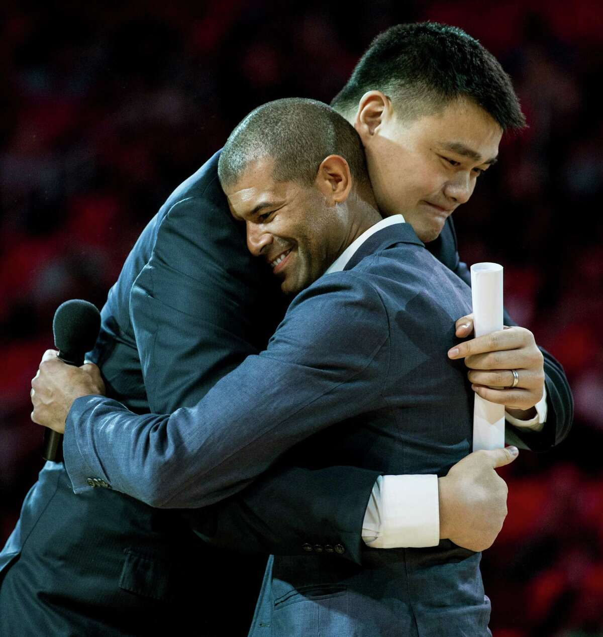 Shane Battier, right, recited a long list of reasons Friday night at Toyota Center for why he's thankful for having once been a Rockets teammate of Yao Ming's.