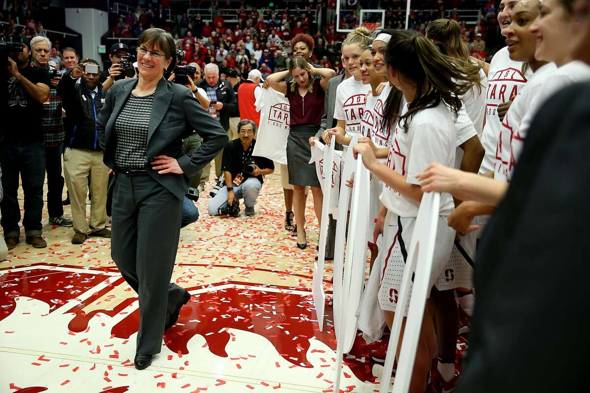 Stanford Cardinal head coach Tara VanDerveer after her 1,000th win following an NCAA women's basketball game between the Stanford Cardinal and USC Trojans at Maples Pavillion on Friday, Feb. 3, 2017 in Stanford, Calif.