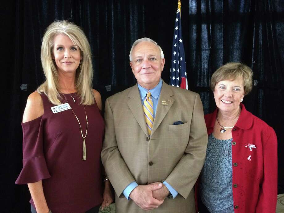 Pictured from left are North Shore Republican Women President Stephanie Collins, speaker James W. Mehrmann, Director of Outreach for the PTSD Foundation of America and NSRW Vice President of Programs Karen Darcy-Pawlak at the NSRW February meeting Wednesday. The group meets again March 1. See www.nsrepublicanwomen.org for more.
