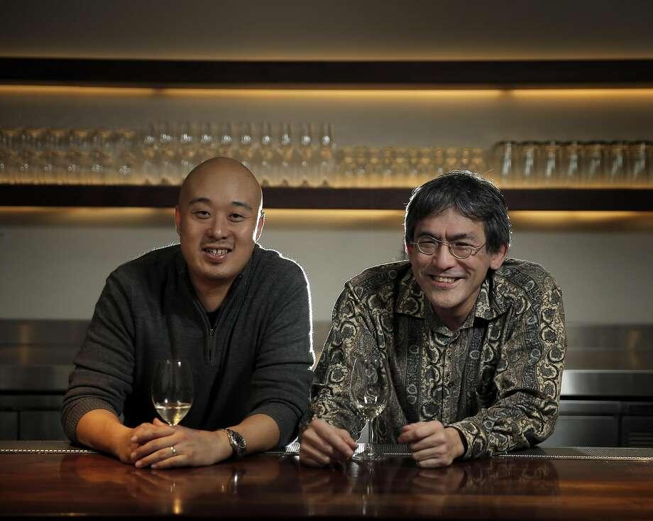James Yu, left, and sommelier, Mark Yatabe, left, at the bar at Great China. Photo: Carlos Avila Gonzalez, The Chronicle