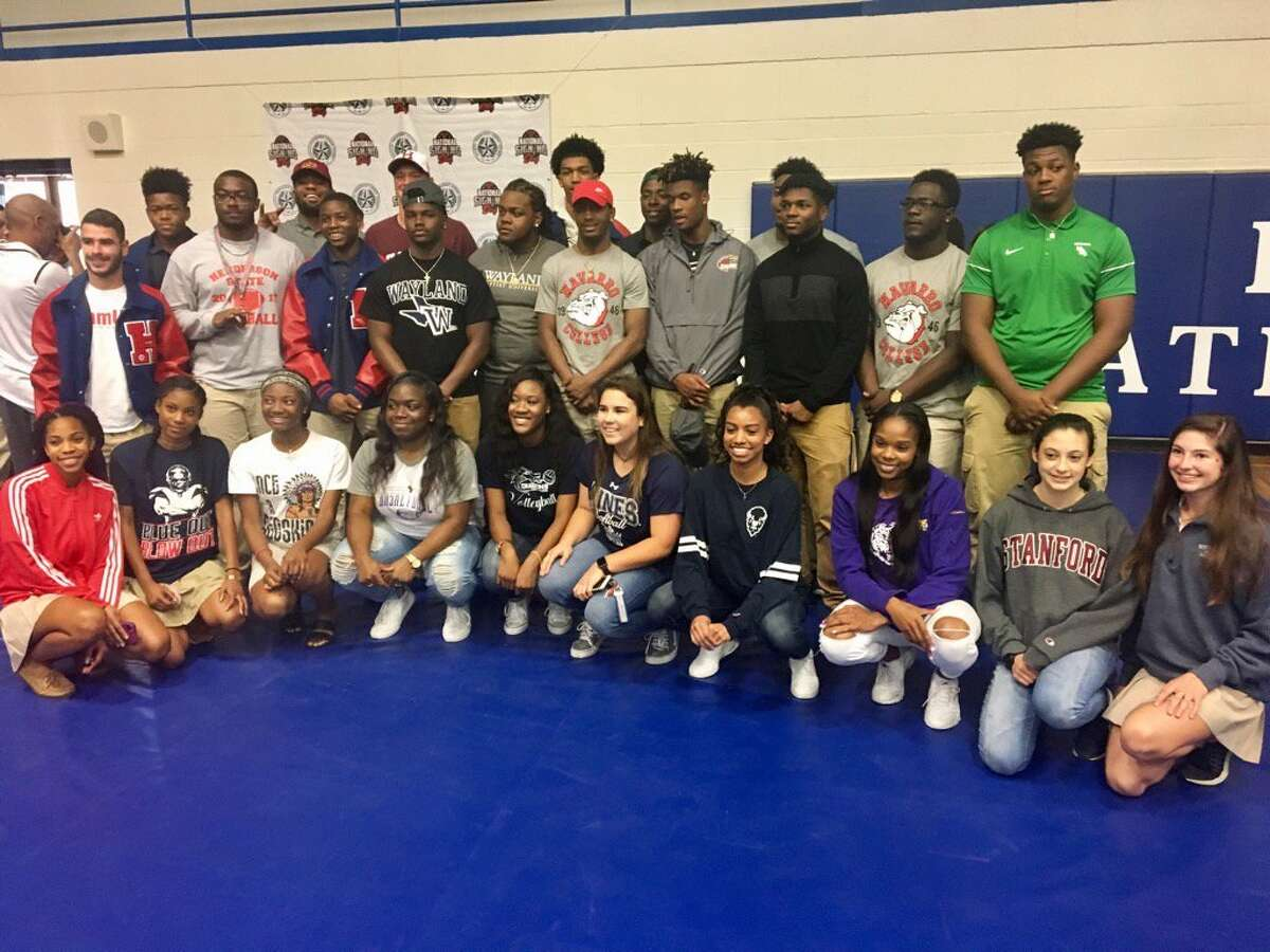 Lamar student-athletes celebrate National Signing Day, Feb. 1 at the Mark Anthony Wilkins Pavilion. The Texans will send 33 to college athletics in nine sports.