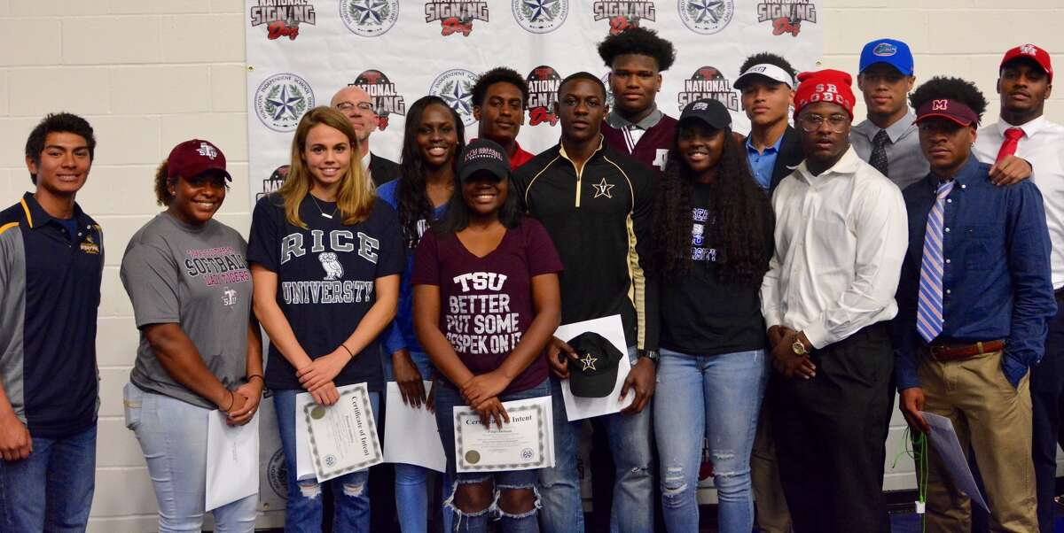 Bellaire student-athletes celebrate National Signing Day, Feb. 1 at the Mark Anthony Wilkins Pavilion. The Cardinals will send 13 to college athletics in six sports.