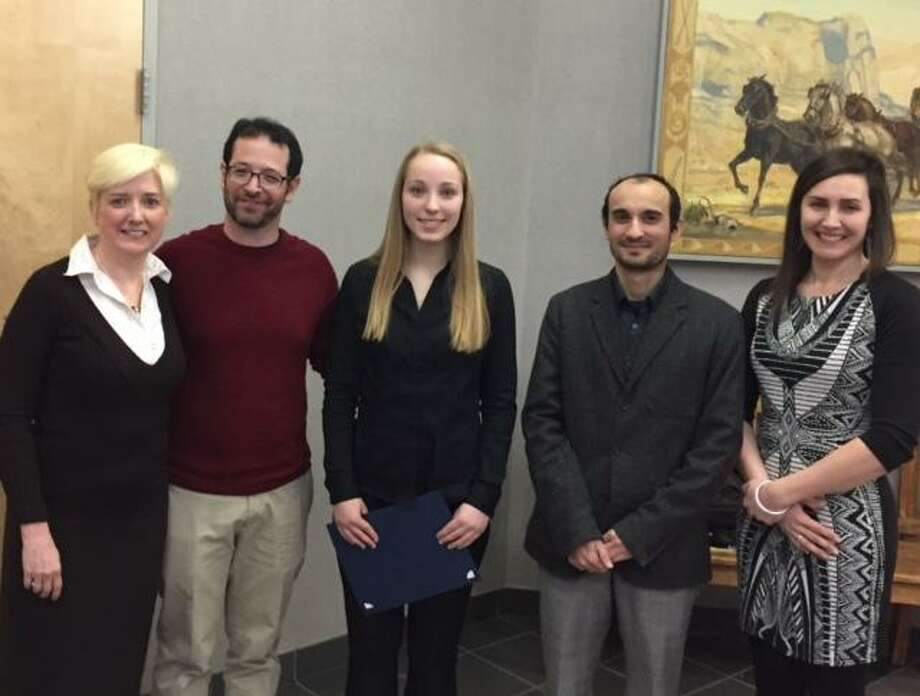 Festival chair Becki Christopherson, with Norwalk Symphony Orchestra Executive Director Jonathan Yates, Concerto winner Kate Wegener, and Emanouil Manolov and Adriana Pera, both judges of the competition. Photo: Contributed Photo