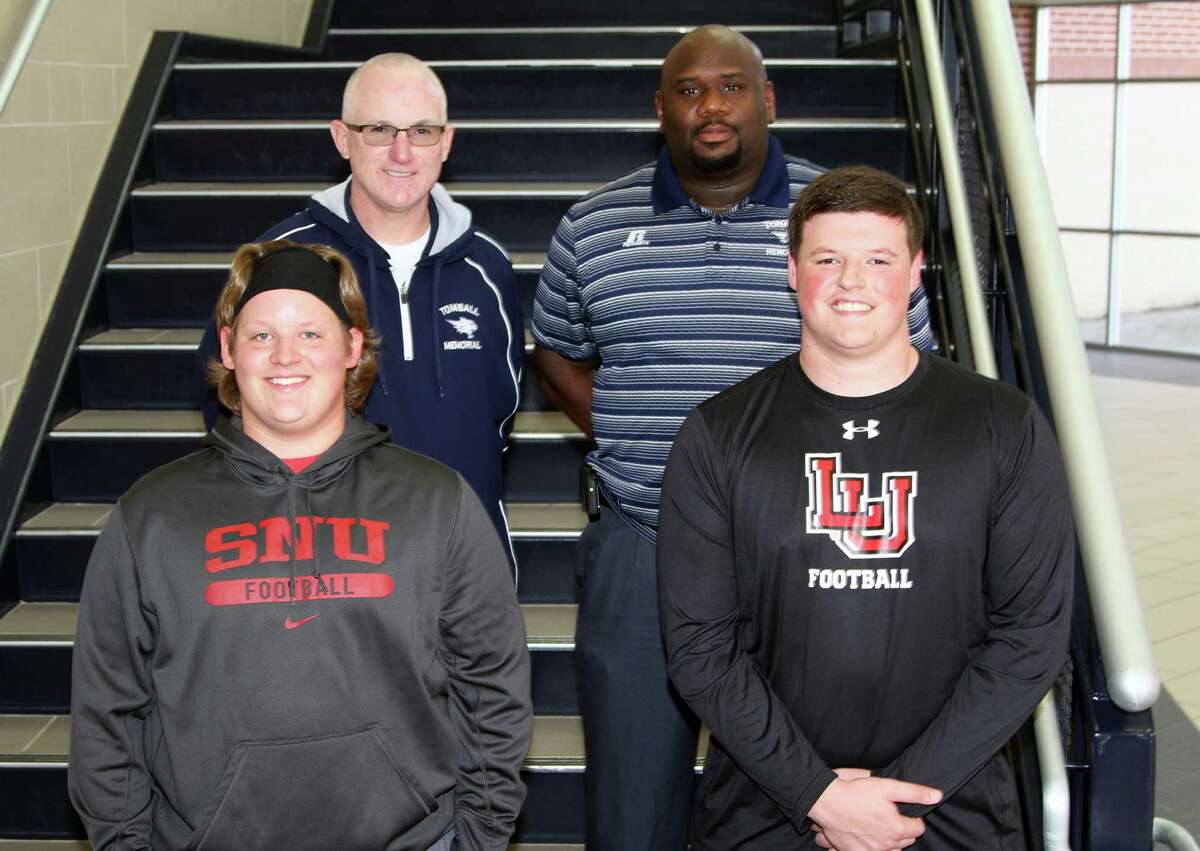 Tomball Memorial Football had two seniors sign their National Letters of Intent to play collegiate ball on National Signing Day Wednesday, center Chase Poynor (left) and offensive guard Colton Peterson (right). They were joined by Tomball Memorial coaches James Gower and Greg Batiste as they signed their National Letters of Intent to play collegiate ball for Southern Nazarene University and Lamar University, respectively.