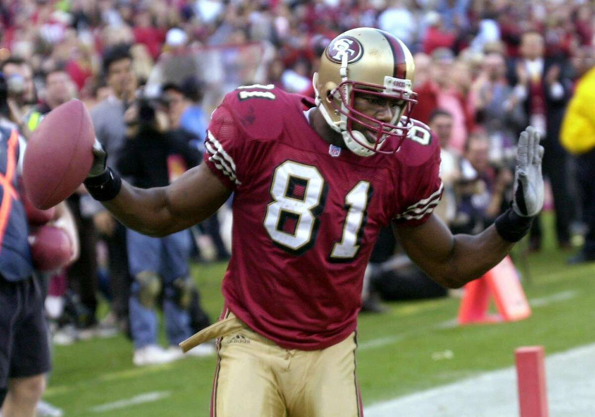 San Francisco 49ers wide receiver Terrell Owens dances after catching a touchdown against the Chicago Bears in the third quarter Sunday, Dec. 17, 2000, in San Francisco. Owens set an NFL record of 20 receptions in a game. The 49ers beat the Bears 17-0.