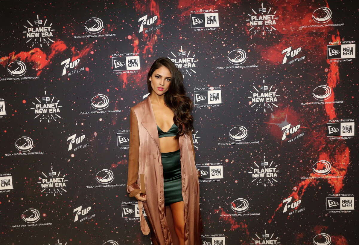 Eiza Gonzalez poses for a photo on the red carpet at the Planet New Era party, Friday, Feb. 3, 2017, in Houston.