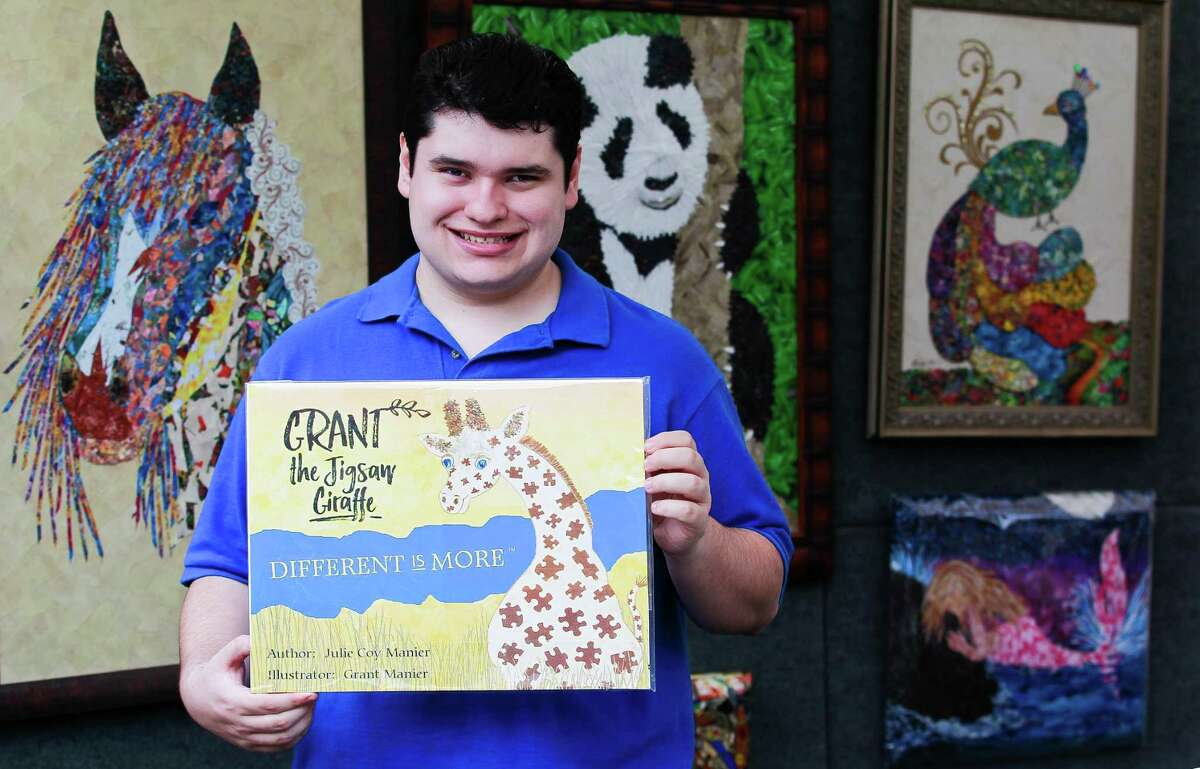 Grant Manier, a 21-year-old autistic Woodlands resident, illustrated the childrenÂ?'s book 'Grant the Jigsaw Giraffe' his mother authored about a giraffe who is different.