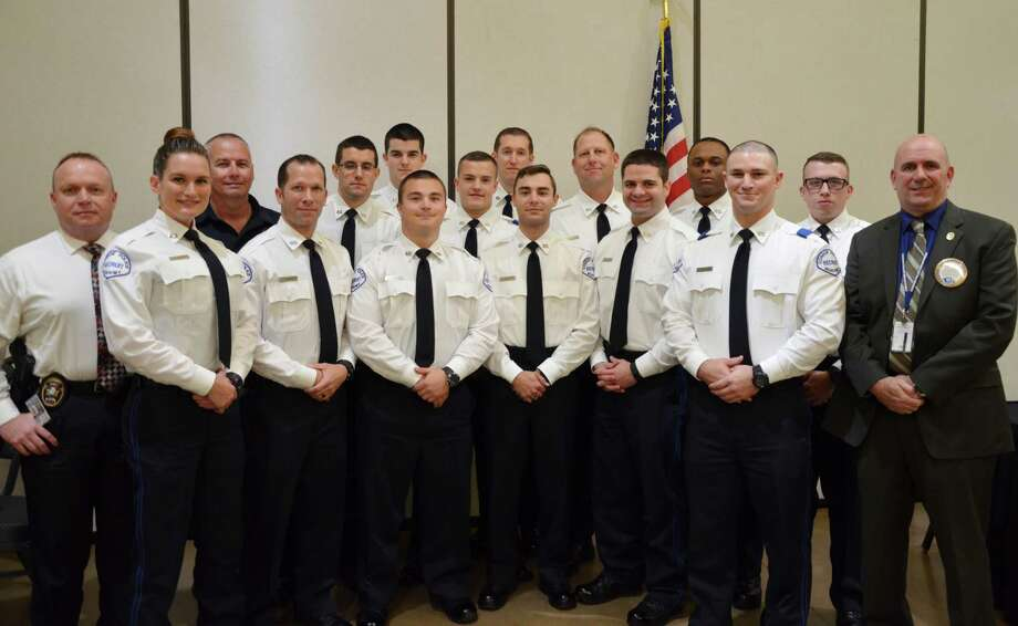 Conroe Police Chief Philip Dupuis, pictured far right, hosted the recent class of cadets from the Conroe Police Academy during his presentation at the Conroe Noon Lions Club last Wednesday. Photo: Submitted Photo