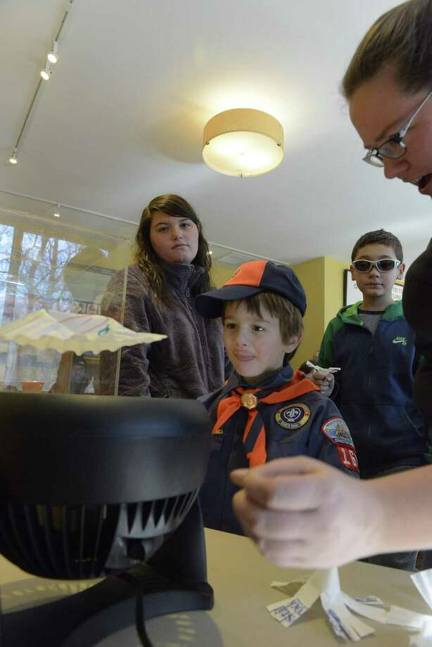 Tiger Cub Scout Sean Boulton of Trumbull Pack 167 tests an Air Foil project during the Powahay District Cub Scout Winter Blast-Off at the Stamford Museum and Nature Center in Stamford on Feb. 4, 2017. Photo: Matthew Brown / Hearst Connecticut Media / Stamford Advocate