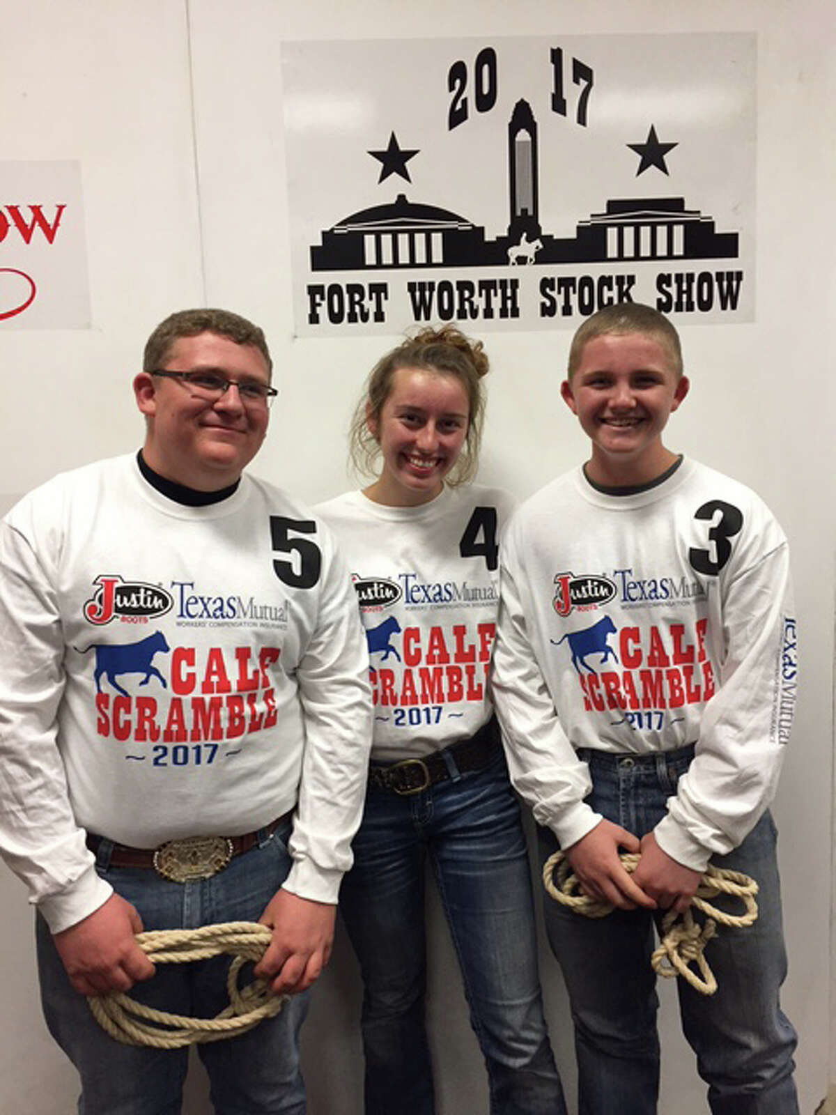 Coldspring FFA members, shown from left to right, Garrett Richardson, Sarah Heflin, Bret Carter traveled to the Fort Worth Stock Show on Sunday, Jan. 29.