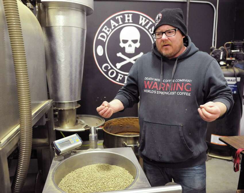 John Swedish, who oversees product develoment for Death Wish Coffee, works in the company's new facility in Round Lake, N.Y. Feb. 4, 2017. The company recently moved their operations to accomodate an influx of business after it won a free commercial slot at the 2016 Super Bowl. (Robert Downen/Times Union)