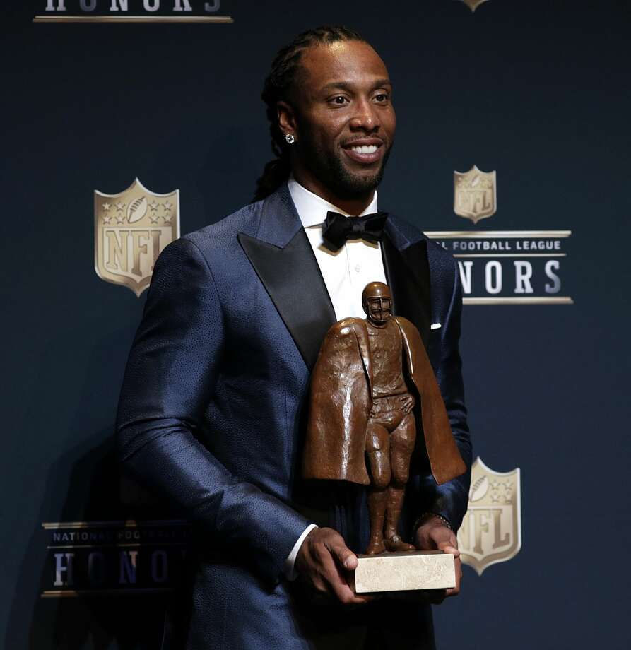 Walter Payton NFL Man of the Year co-winner Larry Fitzgerald during the NFL Honors media availability at the Wortham Center Saturday, Feb. 4, 2017, in Houston. ( James Nielsen / Houston Chronicle ) Photo: James Nielsen/Houston Chronicle