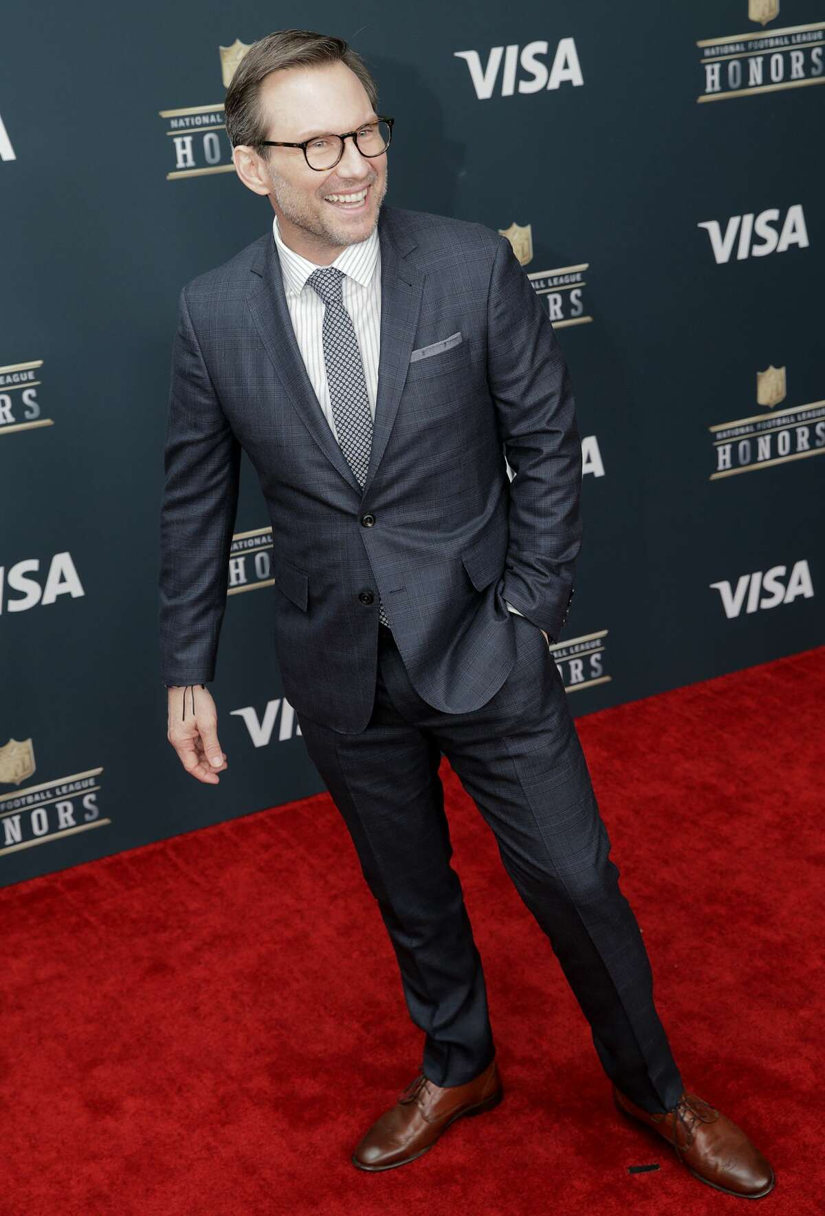 Christian Slater on the red carpet of the NFL honors night at the Wortham Theater Center on Saturday, Feb. 4, 2017, in Houston. ( Elizabeth Conley / Houston Chronicle )
