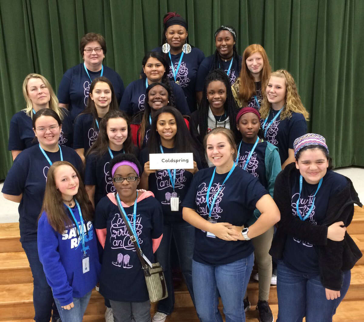 Sixteen students from Coldspring-Oakhurst High School attended the 2nd Annual Country Girls Can Code (CGCC) workshop in Manor, Texas on Jan. 21. Pictured are (top row, left to right) Sponsor Laura Everett, Lourdes Grimaldo, Tikyana Harrison, Deawna Minor and Sydney Watson; (second row) Sponsor Karen Haffner, Jacqueline Richards, KenÂ?'naysha Blanks, Ebony Green and Kayleigh Triggs; (third row) Julian Gunter, Olivia Richards, Rikki Cantu and Tylia McGowen; front row: Kendall Forehand, Charise Lincoln, Sara Coe and Faith Villa.