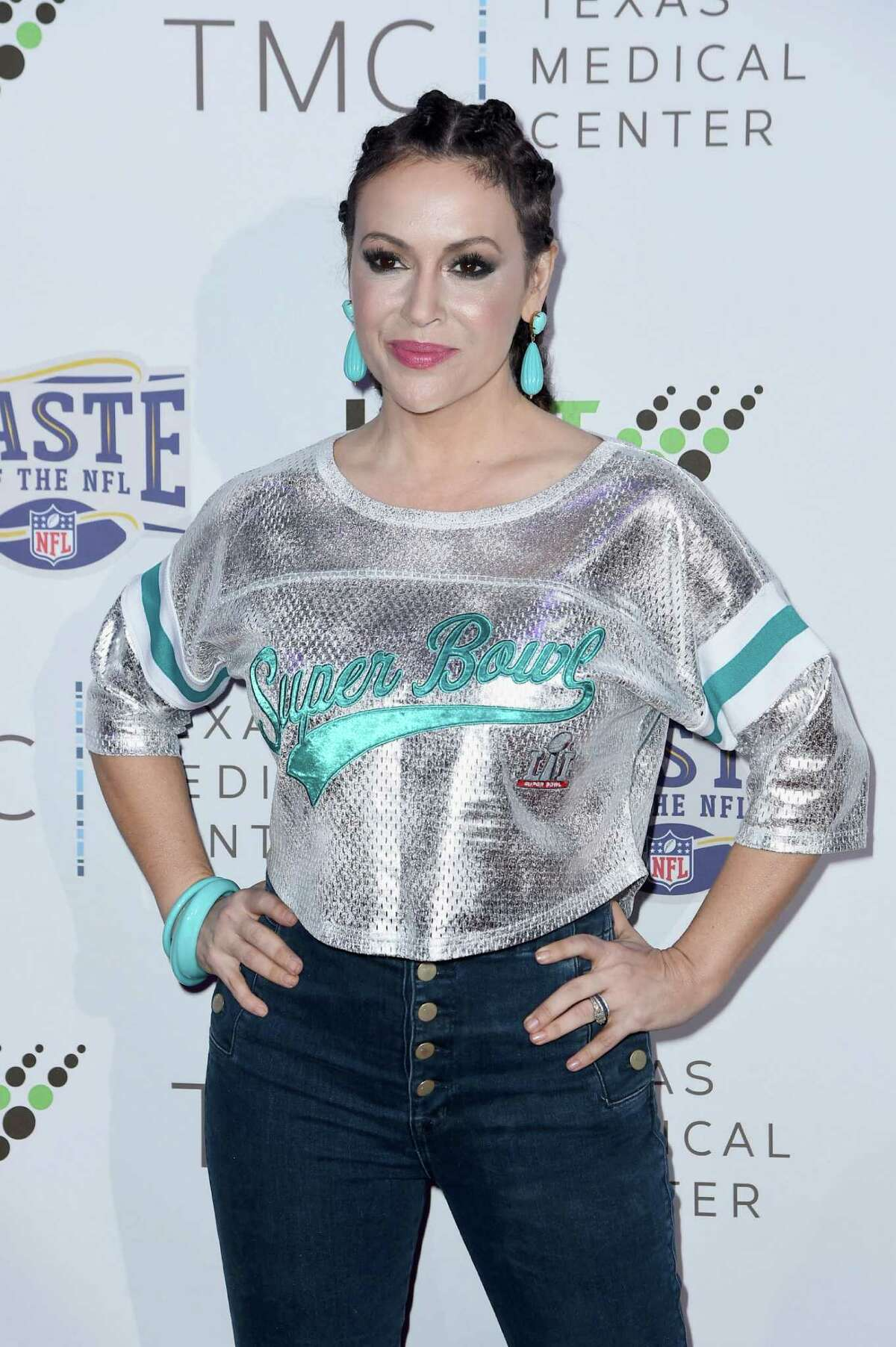 HOUSTON, TX - FEBRUARY 04: Actress/Founder of Touch by Alyssa Milano, Alyssa Milano (R) attends the Taste Of The NFL 'Party With A Purpose' at Houston University on February 4, 2017 in Houston. at University of Houston on February 4, 2017 in Houston, Texas.