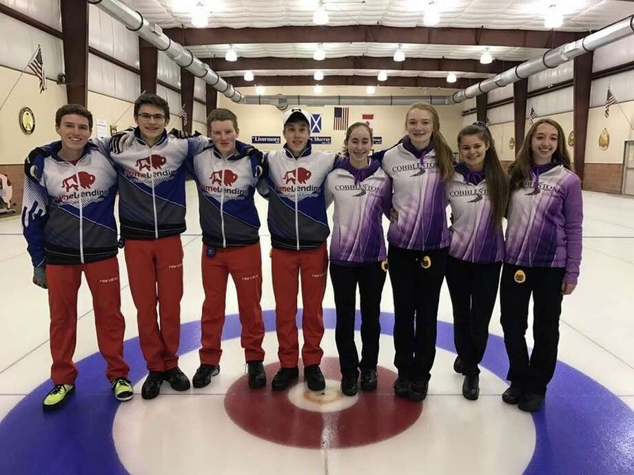 The Andrew McDonald and Maya Willertz rinks will compete at the the inaugural USCA National U-18 Championship March 8 to 12 in Milwaukee. Pictured, from left, are skip Andrew McDonald, Sam Strouse, Ian Strong and J.T. Burnett of the McDonald rink; and Rachel Weldy, Madelyn Graves, Delaney Strouse and skip Maya Willertz of the Willertz rink.