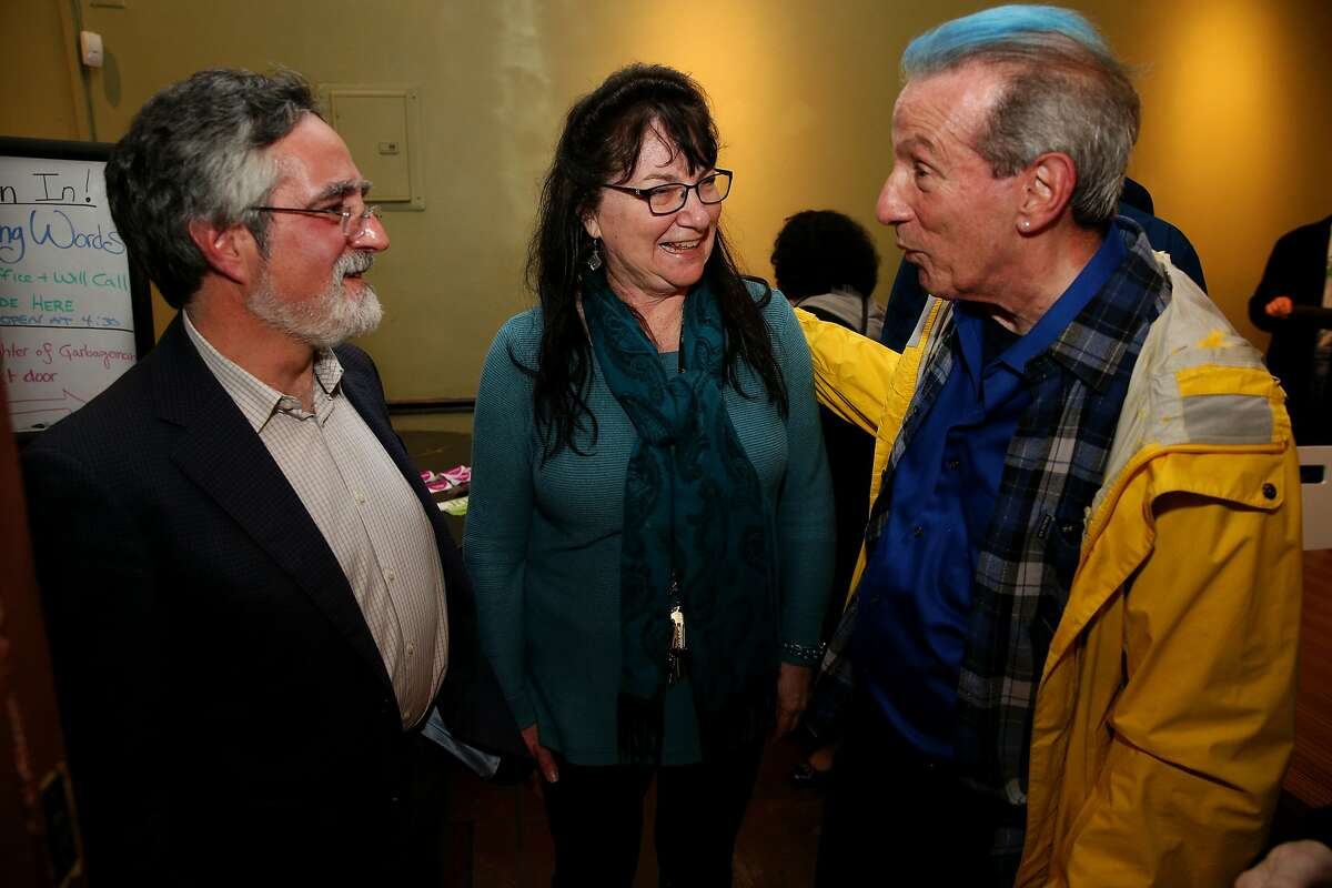 From right: Tom Ammiano, Stephanie Weisman and Aaron Peskin at The Marsh Cafe on Saturday, Feb. 4, 2017 in San Francisco, Calif. Ammiano is a former state Assemblyman, S.F. supervisor and political activist. Weisman is the artistic director and founder of The Marsh. Peskin is on the S.F. Board of Supervisors.