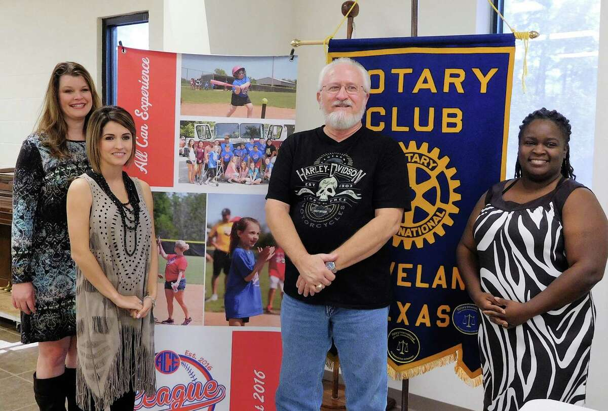 Cleveland Rotary Club members were joined by representatives of the All Can Experience (ACE) organization on Feb. 1. Pictured (left to right) are ACE Secretary Tammie Tousha, ACE Founder and President Ashley Watson, Rotary Speaker Host Larry Middleton and Rotary President Eisha Jones.