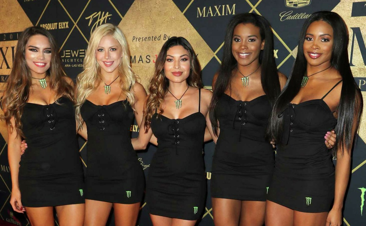 HOUSTON, TX - FEBRUARY 04: Models pose at the Maxim Super Bowl Party on February 4, 2017 in Houston, Texas.