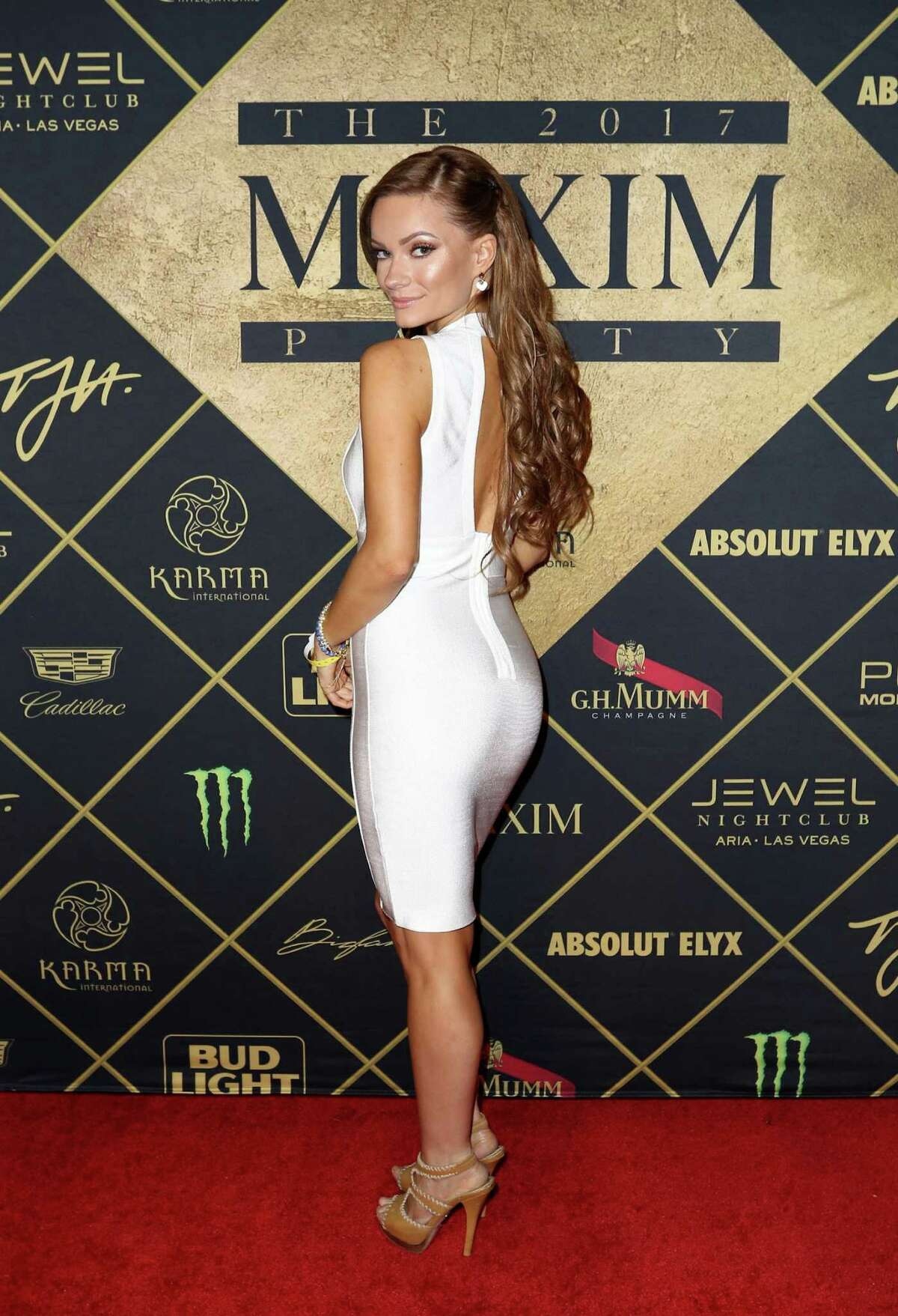 HOUSTON, TX - FEBRUARY 04: Model Caitlin O'Connor arrives at the Maxim Super Bowl Party on February 4, 2017 in Houston, Texas.