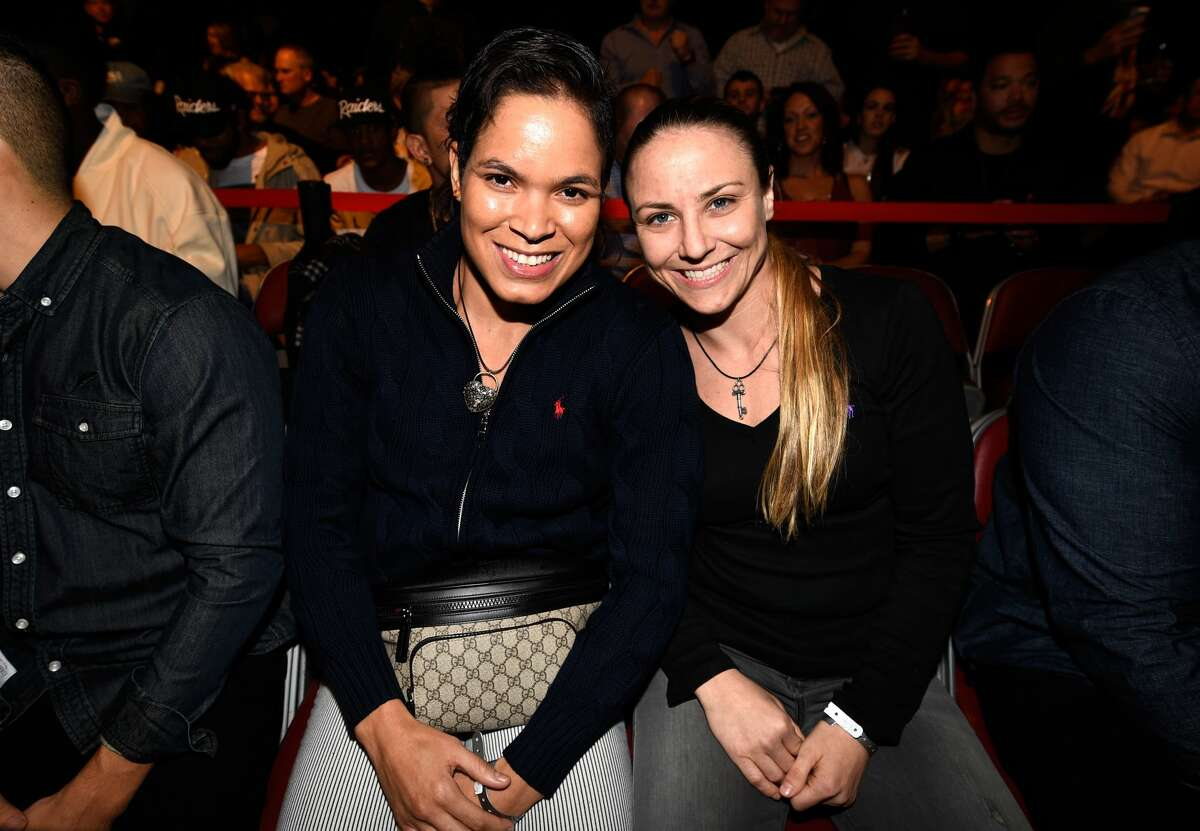 HOUSTON, TX - FEBRUARY 04: UFC women's bantamweight champion Amanda Nunes of Brazil and girlfriend UFC fighter Nina Ansaroff pose for a picture during the UFC Fight Night event at the Toyota Center on February 4, 2017 in Houston, Texas. (Photo by Jeff Bottari/Zuffa LLC/Zuffa LLC via Getty Images)