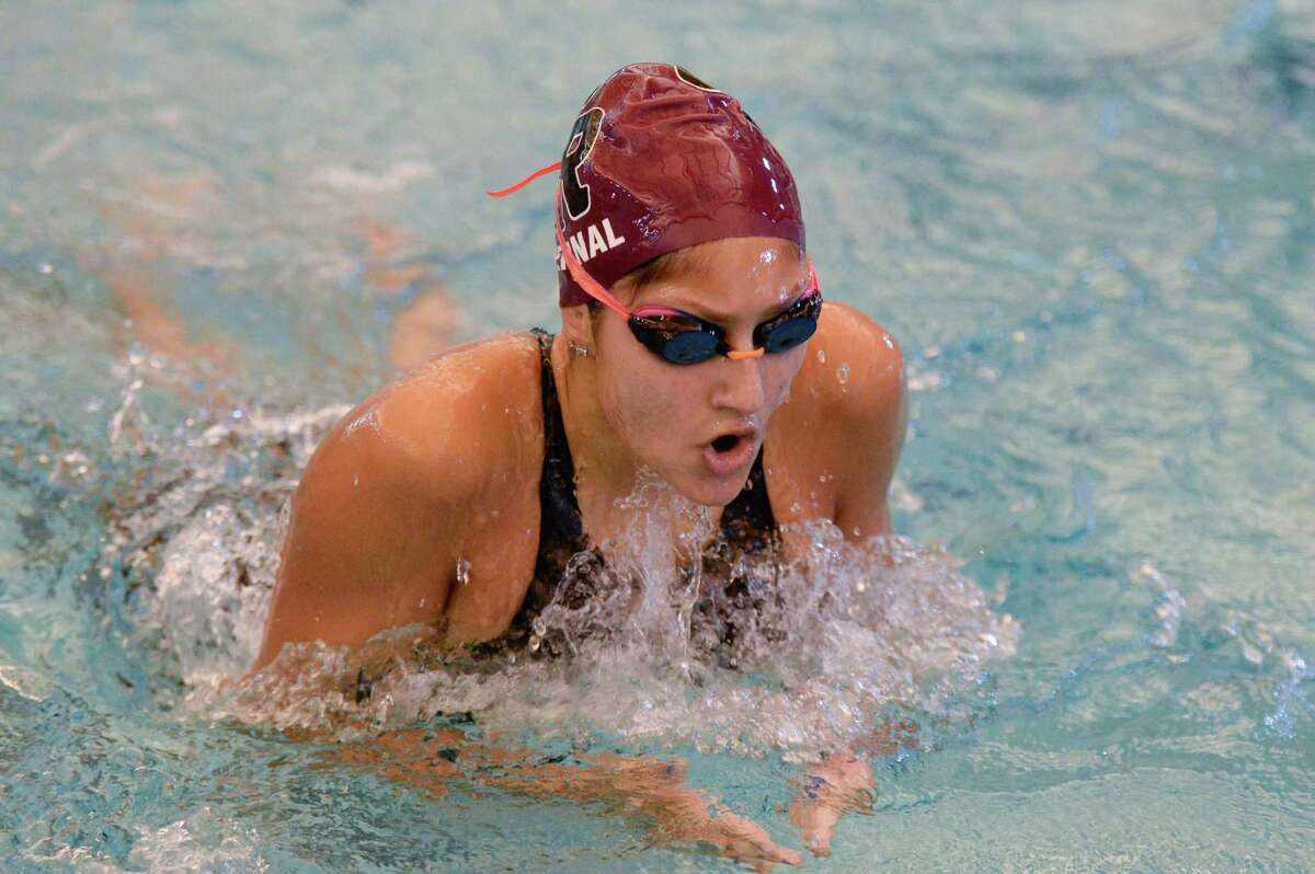 Aria Bernal of Cinco Ranch swims to a first place finish in the girls 200 yard individual medley at the UIL Conference 5-6A Regional Swimming and Diving Championship on February 4, 2017 at the Don Cook Natatorium, Sugar Land, TX.