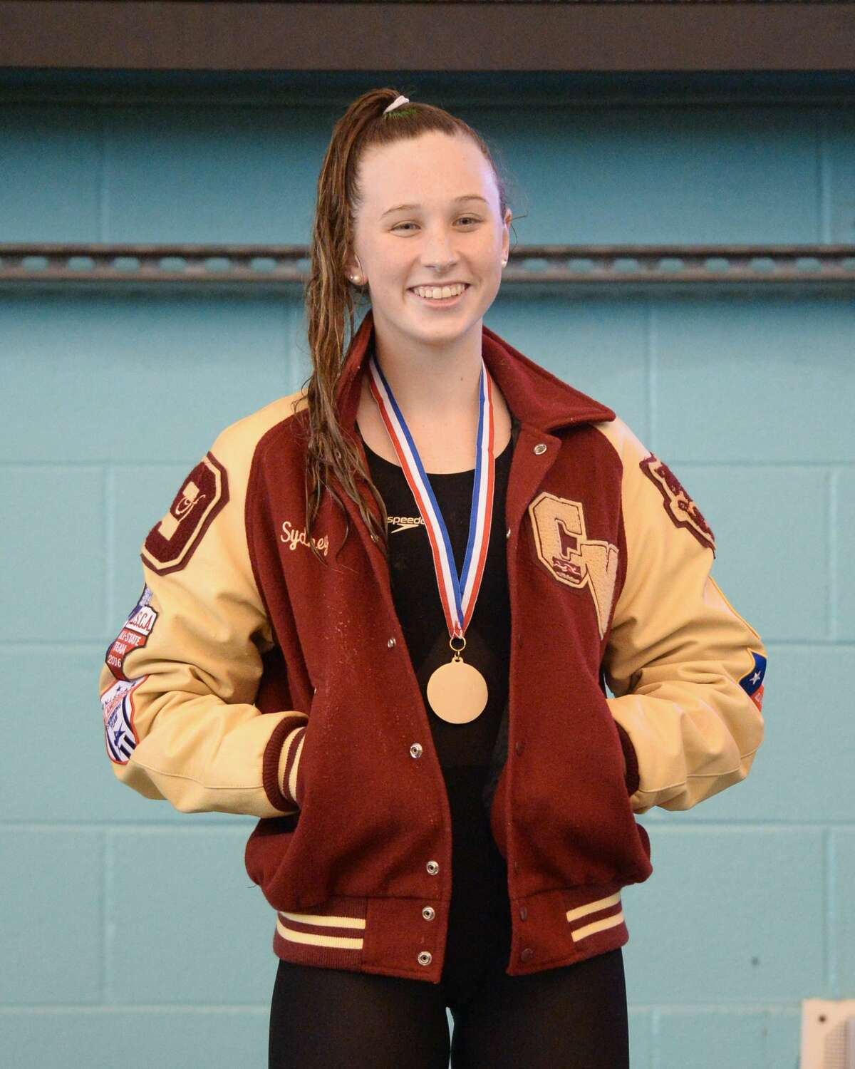 Sydney Stanford of Cy Woods captured first place in the girls 50 yard freestyle at the UIL Conference 5-6A Regional Swimming and Diving Championship on February 4, 2017 at the Don Cook Natatorium, Sugar Land, TX.