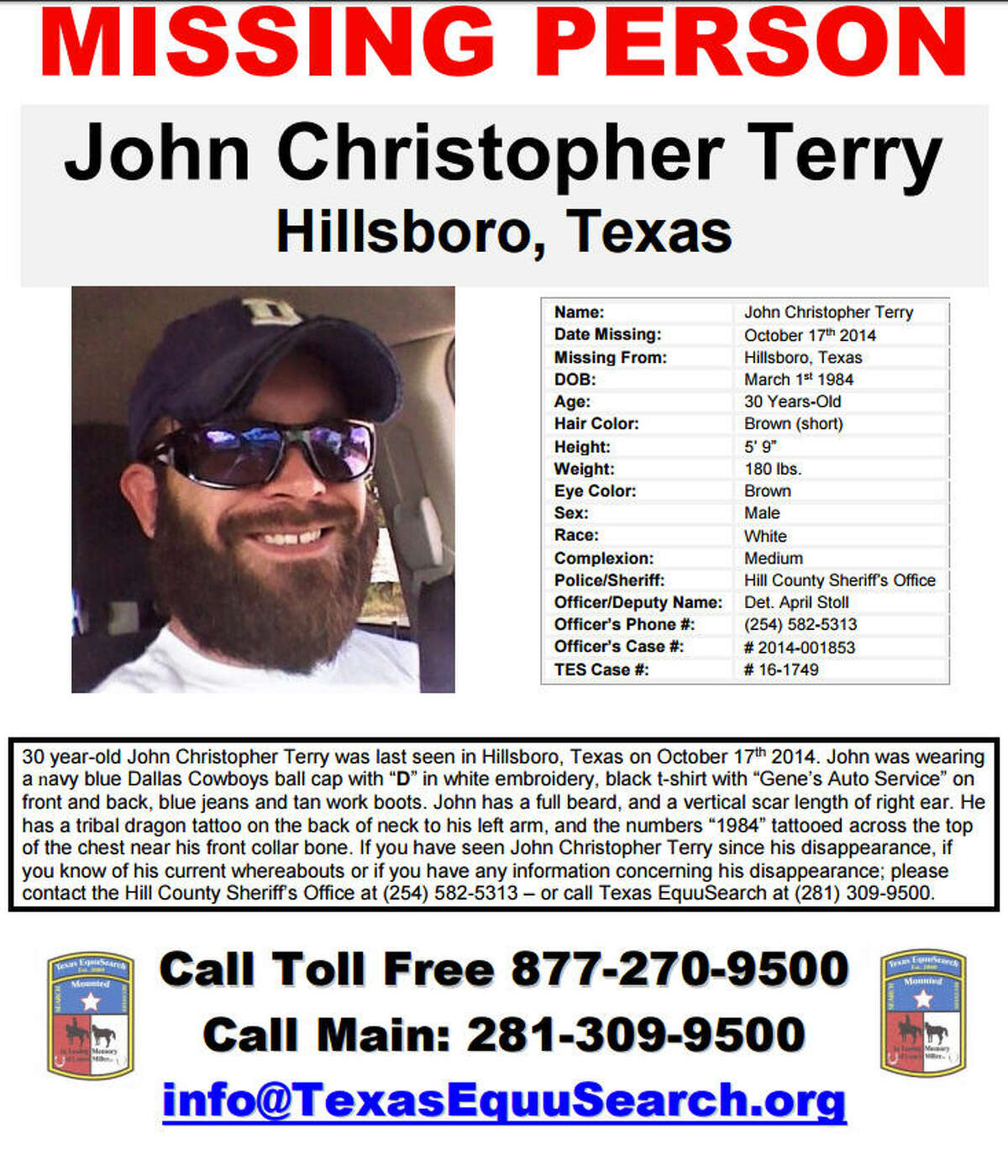 A central Texas man vanished three years ago. Now his family and friends are offering a reward. John Terry disappeared after going to Wal-Mart in October 2014. Deputies found his truck with the keys inside, but no sign of Terry.
