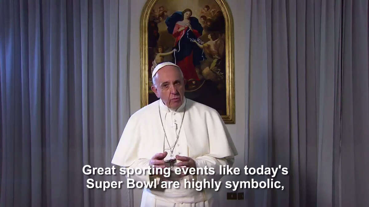 Pope Francis gives a message for Super Bowl 51 in Houston. Pope Francis is known for using Twitter and bringing the Vatican into the technological 21st Century. He tweeted out a message related to Super Bowl on Feb. 5, 2017. >>>Click through the gallery to see photos of Pope Francis in action.