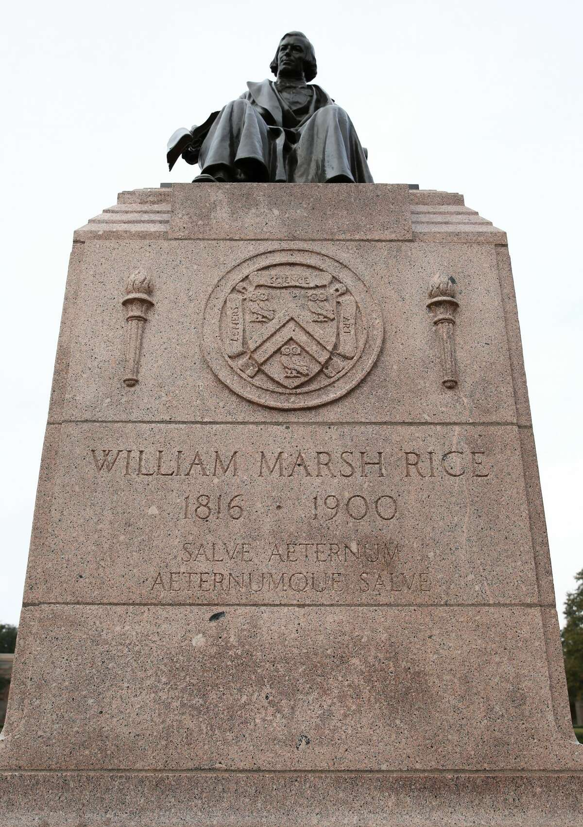 Vandals hit the founder's statue at Rice University with graffiti. It appears that the swastika that was drawn on Rice University's William Marsh Rice statue has been removed on Sunday, February 5, in Houston.