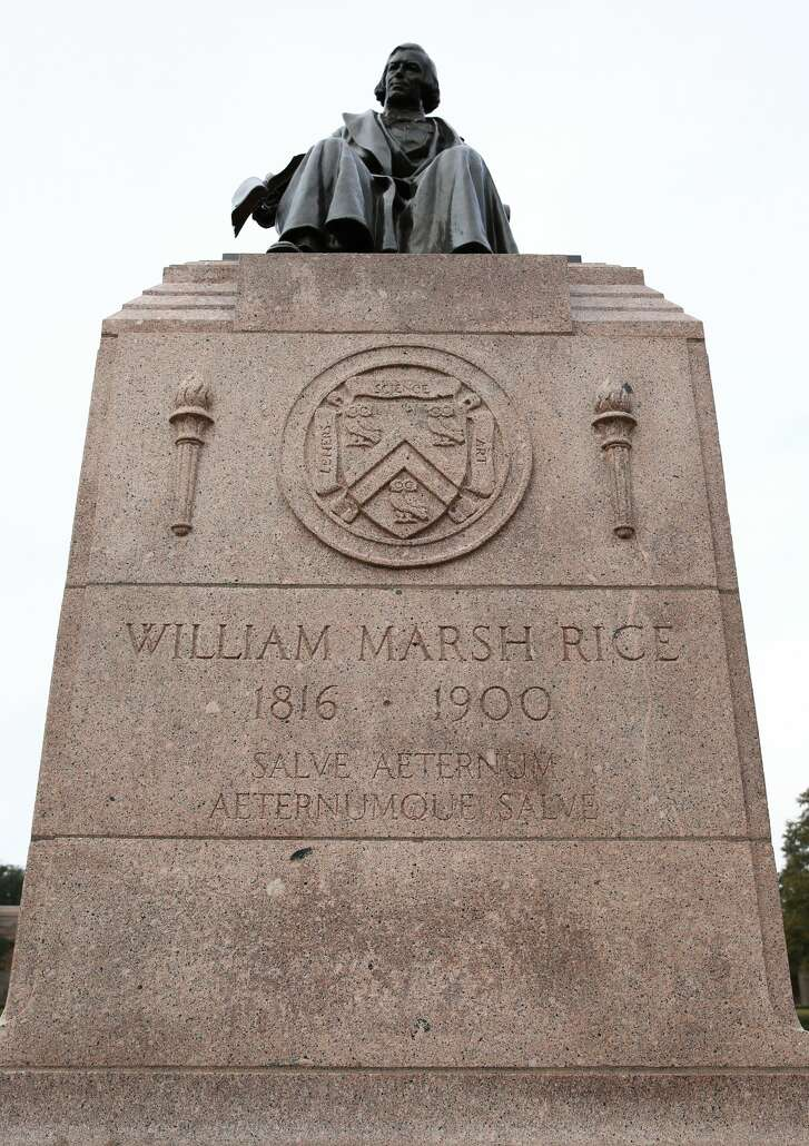 It appears that the swastika that was drawn on Rice University's William Marsh Rice statue has been removed on Sunday, February 5, in Houston. ( Yi-Chin Lee/ Houston Chronicle) 