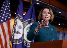 House Minority Leader Nancy Pelosi and other Democrats seek an oppo sition strategy to President Trump.